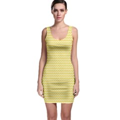 Pattern Yellow Heart Heart Pattern Sleeveless Bodycon Dress