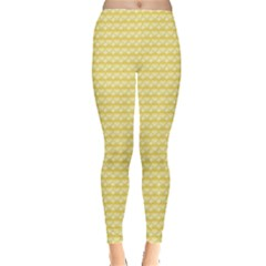 Pattern Yellow Heart Heart Pattern Leggings