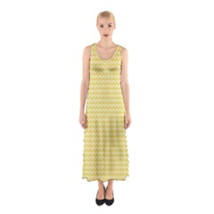 Pattern Yellow Heart Heart Pattern Sleeveless Maxi Dress