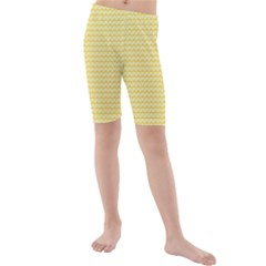 Pattern Yellow Heart Heart Pattern Kids  Mid Length Swim Shorts