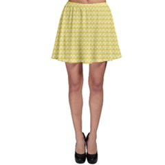 Pattern Yellow Heart Heart Pattern Skater Skirt