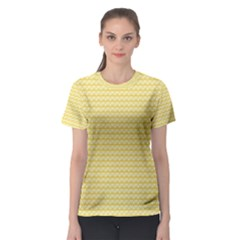 Pattern Yellow Heart Heart Pattern Women s Sport Mesh Tee