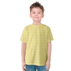 Pattern Yellow Heart Heart Pattern Kids  Cotton Tee