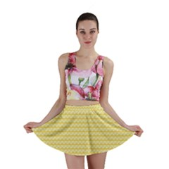 Pattern Yellow Heart Heart Pattern Mini Skirt