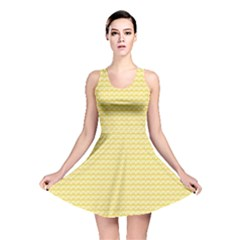Pattern Yellow Heart Heart Pattern Reversible Skater Dress