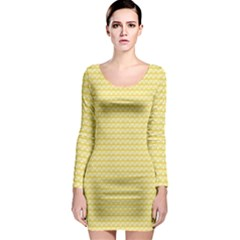 Pattern Yellow Heart Heart Pattern Long Sleeve Bodycon Dress