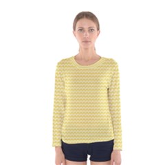Pattern Yellow Heart Heart Pattern Women s Long Sleeve Tee
