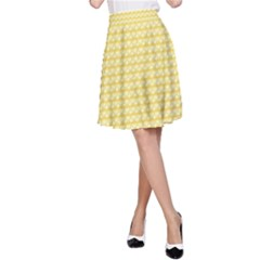 Pattern Yellow Heart Heart Pattern A-Line Skirt