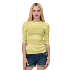 Pattern Yellow Heart Heart Pattern Quarter Sleeve Tee