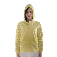 Pattern Yellow Heart Heart Pattern Hooded Wind Breaker (Women)