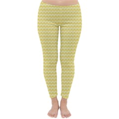 Pattern Yellow Heart Heart Pattern Classic Winter Leggings