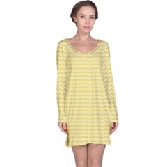 Pattern Yellow Heart Heart Pattern Long Sleeve Nightdress
