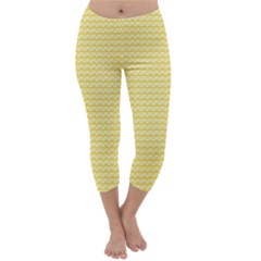 Pattern Yellow Heart Heart Pattern Capri Winter Leggings