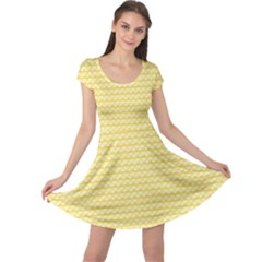 Pattern Yellow Heart Heart Pattern Cap Sleeve Dresses
