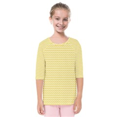 Pattern Yellow Heart Heart Pattern Kids  Quarter Sleeve Raglan Tee