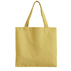 Pattern Yellow Heart Heart Pattern Zipper Grocery Tote Bag