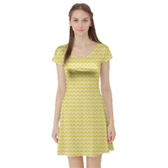Pattern Yellow Heart Heart Pattern Short Sleeve Skater Dress