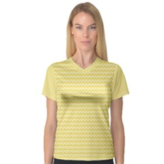 Pattern Yellow Heart Heart Pattern Women s V-Neck Sport Mesh Tee
