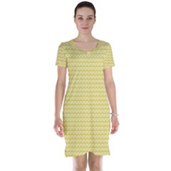 Pattern Yellow Heart Heart Pattern Short Sleeve Nightdress