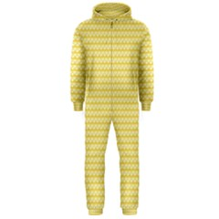 Pattern Yellow Heart Heart Pattern Hooded Jumpsuit (Men)