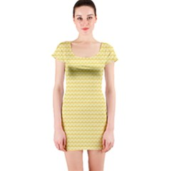 Pattern Yellow Heart Heart Pattern Short Sleeve Bodycon Dress