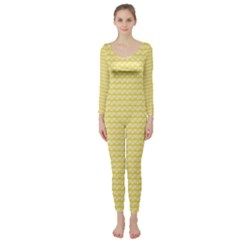 Pattern Yellow Heart Heart Pattern Long Sleeve Catsuit