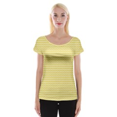 Pattern Yellow Heart Heart Pattern Women s Cap Sleeve Top