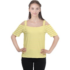 Pattern Yellow Heart Heart Pattern Women s Cutout Shoulder Tee