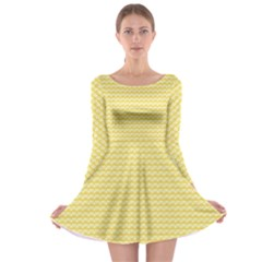 Pattern Yellow Heart Heart Pattern Long Sleeve Skater Dress