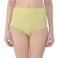 Pattern Yellow Heart Heart Pattern High-Waist Bikini Bottoms