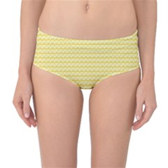 Pattern Yellow Heart Heart Pattern Mid-Waist Bikini Bottoms