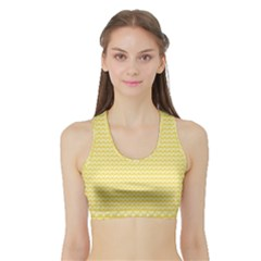 Pattern Yellow Heart Heart Pattern Sports Bra with Border