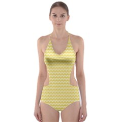 Pattern Yellow Heart Heart Pattern Cut-Out One Piece Swimsuit