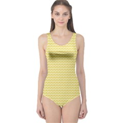 Pattern Yellow Heart Heart Pattern One Piece Swimsuit