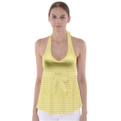 Pattern Yellow Heart Heart Pattern Babydoll Tankini Top