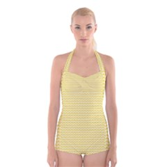 Pattern Yellow Heart Heart Pattern Boyleg Halter Swimsuit