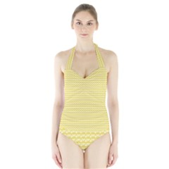 Pattern Yellow Heart Heart Pattern Halter Swimsuit