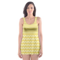 Pattern Yellow Heart Heart Pattern Skater Dress Swimsuit