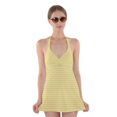 Pattern Yellow Heart Heart Pattern Halter Swimsuit Dress