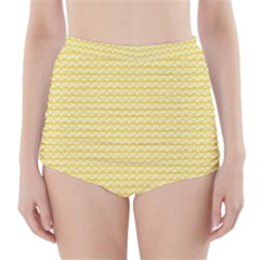 Pattern Yellow Heart Heart Pattern High-Waisted Bikini Bottoms