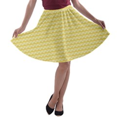 Pattern Yellow Heart Heart Pattern A Line Skater Skirt