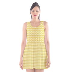 Pattern Yellow Heart Heart Pattern Scoop Neck Skater Dress