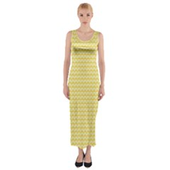 Pattern Yellow Heart Heart Pattern Fitted Maxi Dress