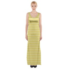 Pattern Yellow Heart Heart Pattern Maxi Thigh Split Dress