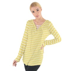 Pattern Yellow Heart Heart Pattern Women s Tie Up Tee