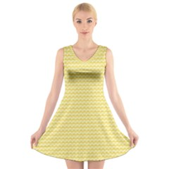 Pattern Yellow Heart Heart Pattern V-Neck Sleeveless Skater Dress