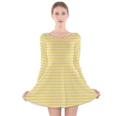Pattern Yellow Heart Heart Pattern Long Sleeve Velvet Skater Dress
