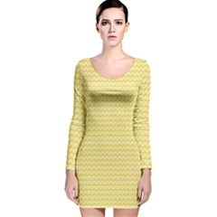 Pattern Yellow Heart Heart Pattern Long Sleeve Velvet Bodycon Dress