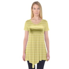Pattern Yellow Heart Heart Pattern Short Sleeve Tunic