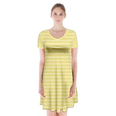 Pattern Yellow Heart Heart Pattern Short Sleeve V-neck Flare Dress